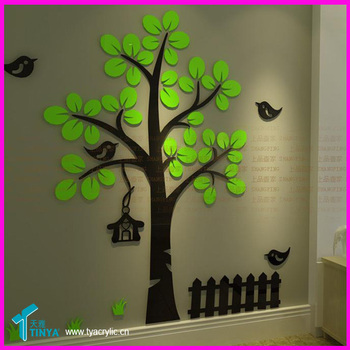 Acrylic Mirror Effect 3d Wall Decals Tree Shaped Mirrors Stickers ...