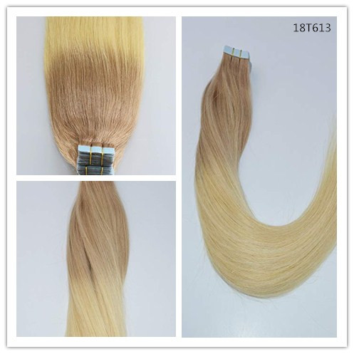 Kleur #18T613 Bleach Blonde Ombre huid inslag tape remy hair extensions