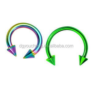 Body Piercing Anodised Horseshoe Rings Circular Barbell Cone