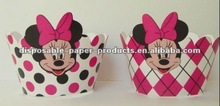 Minnie mouse inspiró cupcakes wrappers magdalena collares