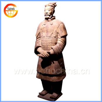 China Handmade Fine Concrete Garden Statues Of Terracotta Warrior Design  For Business Gift