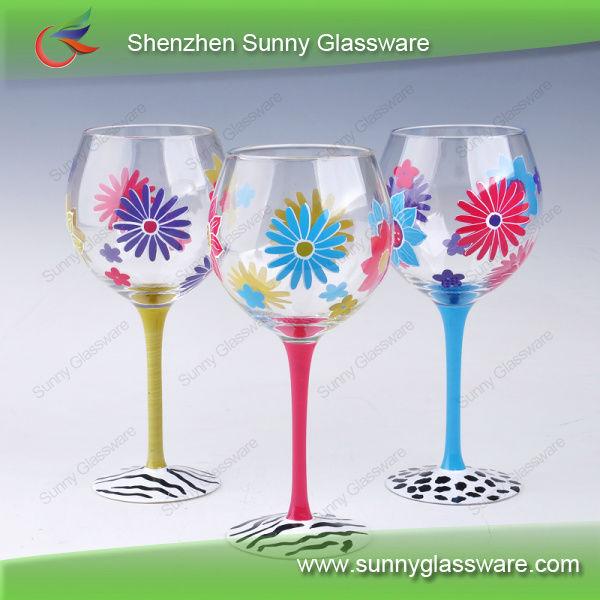 2013 Unique Design Hot Hand Painted Wine Glass