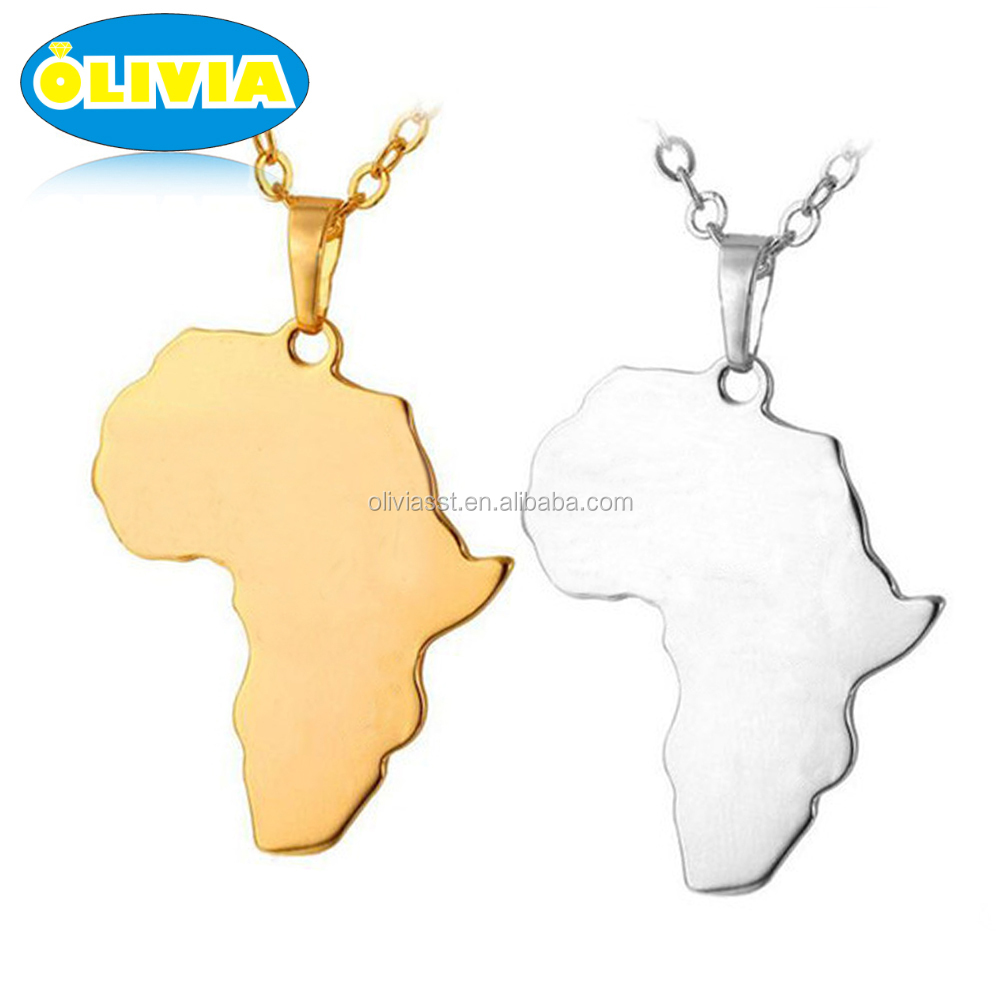 Stainless Steel HipHop Gold Africa Map Pendant