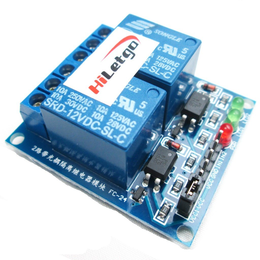 HiLetgo 12V 2 Channel Low Level Relay Module OPTO-Isolated Relay Module Expansion Board