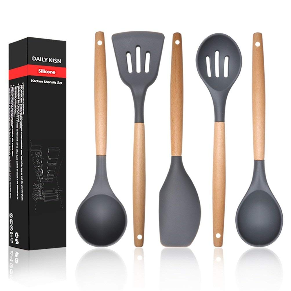 5 pcs Silicone Kitchen Utensil Set - Nature Wood Handle Spatula Cookware(Ladle/Slotted Turner/Spatula/Slotted Spoon/Spoon), Nonstick Kitchen Tools for Cooking/Baking/BBQ/Mixing, 2018 New Arrival