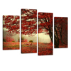 Red Maple Tree Floral Landscape Canvas Wall Art Picture Multi 4 Panel Split Canvas Prints Giclee Artwork for Wall Decor