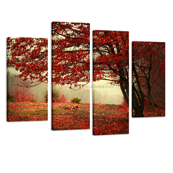Red Maple Tree Floral Landscape Canvas Wall Art Picture Multi 4 ...