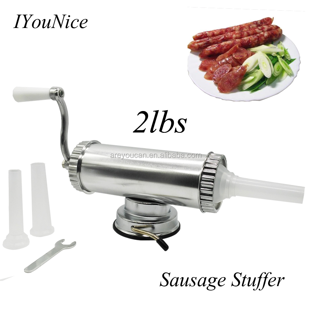 Areyoucan small sausage stuffer/sausage maker/sausage filler with 3 funnels