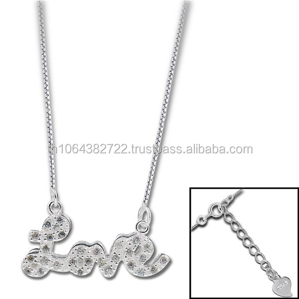 Valentine Days Gift Jewelry Love 925 Sterling Silver Chain Necklace Wholesale Charm Jewelry Unisex Jewellery