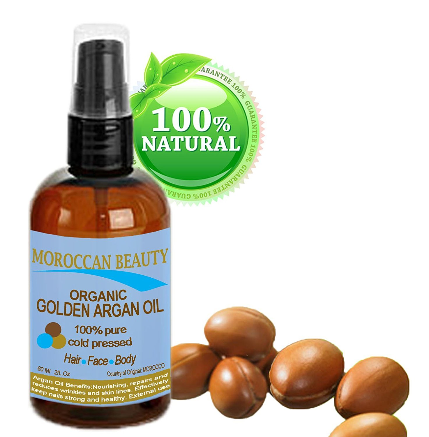 Moroccan Beauty Golden Argan Oil, 100% Pure, Cold Pressed, Certified Organic - Professional Use 2 Oz-60ml