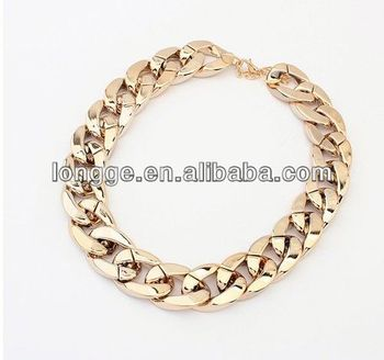 Wholesale Cheap Gold Plating Fashion Jewelry Uk Celebrity Style Chunky Chain Gold Statement