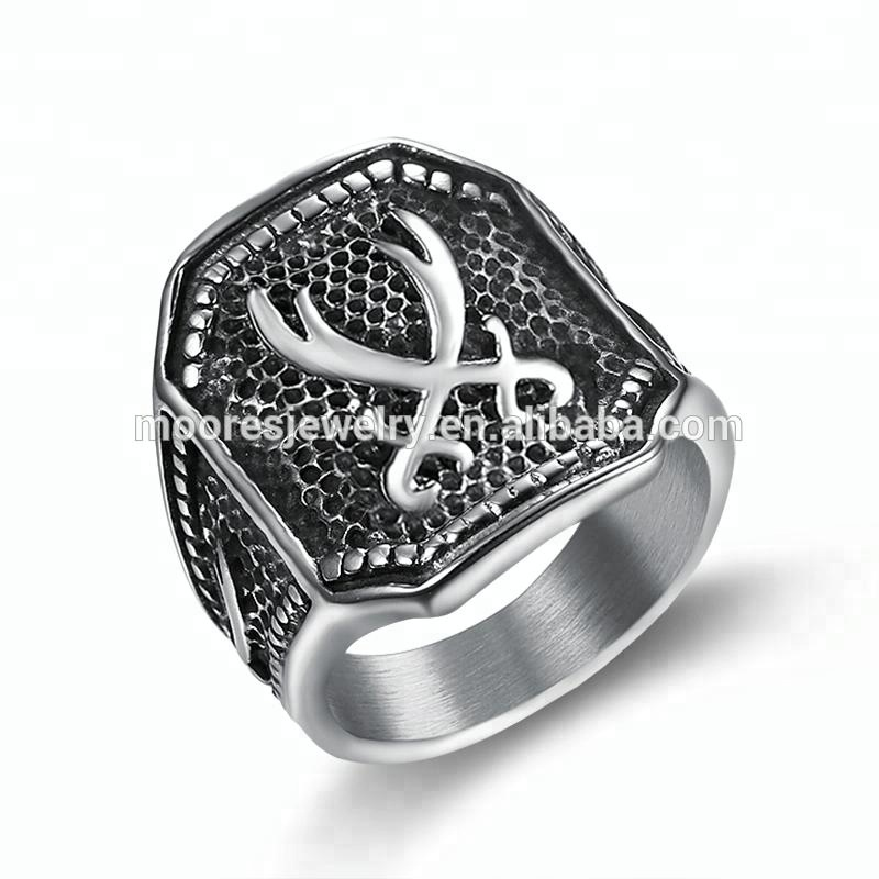 316 stainless steel muslim Zulfiqar Sword of Imam Ali ring for men Islam Retro fashion Arab jewelry rings for men boys