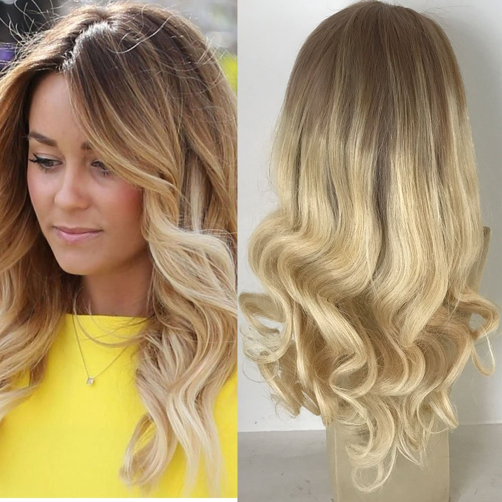 Buy Full Shine 18 Inch Dark Roots Human Hair Wig Pastel Remy Front