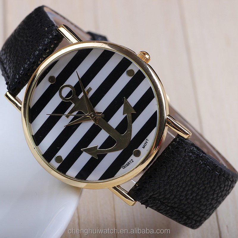 Vintage Flower Basel-style Rhinestones Geometric Stripes Anchor Leather Bracelet Red Watch