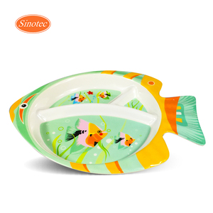 3 Compartment Fish Shaped Melamine Plastic Baby Dinner Portion Plate