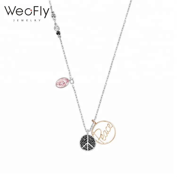Latest design 925 sterling silver peace pendant Austria crystal fashion necklace for girls, Optional as picture;or customized