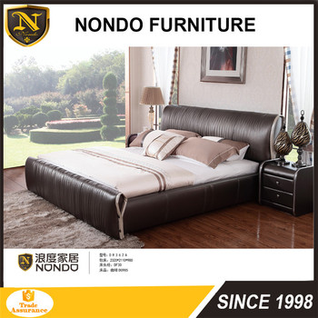 Genuine Leather Kingsize High Back Contemporary Soft Bed With Strong Frame D R362A