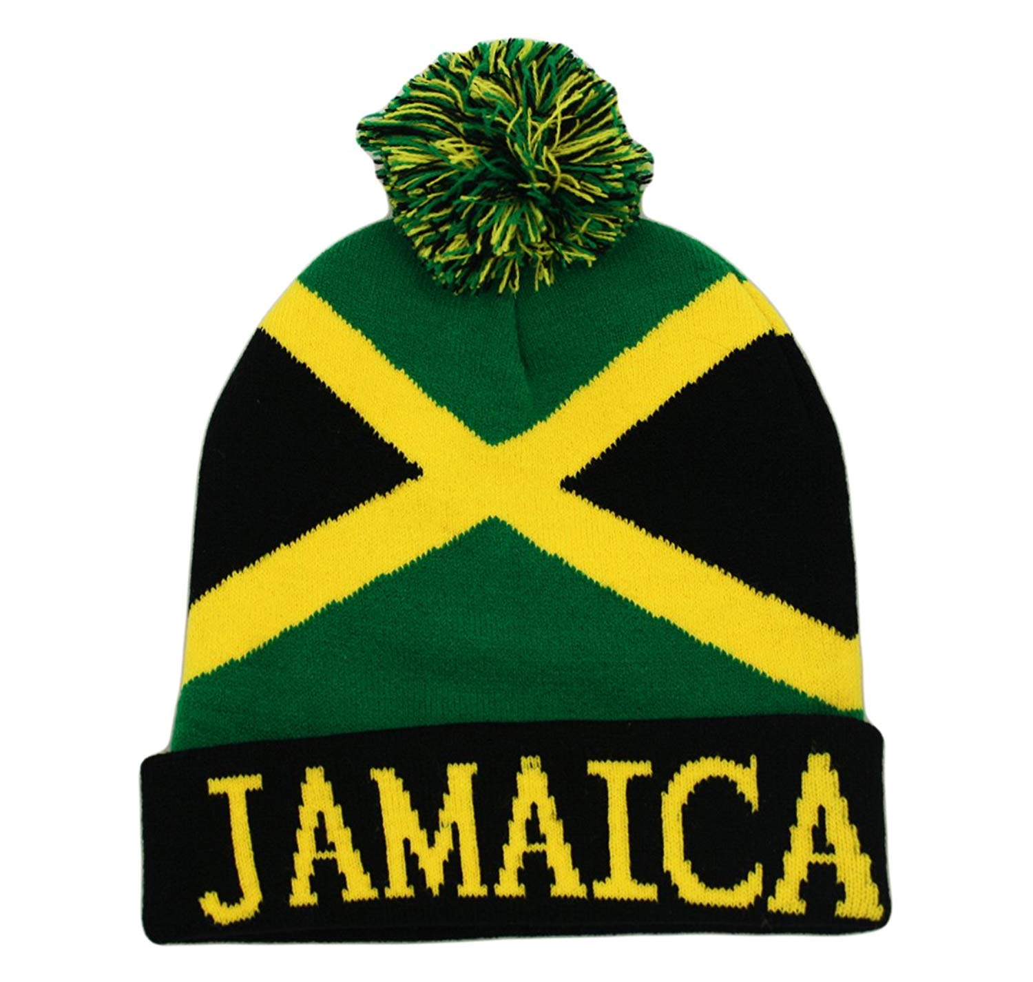2f1be963193 Get Quotations · Itzu Bobble Beanie Knit Winter Hat Jamaica Rasta in Black  Yellow and Green