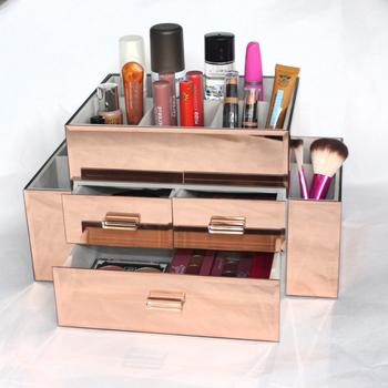 Beautiful 3 Drawers Makeup Organizer Rose Gold Container Makeup Case