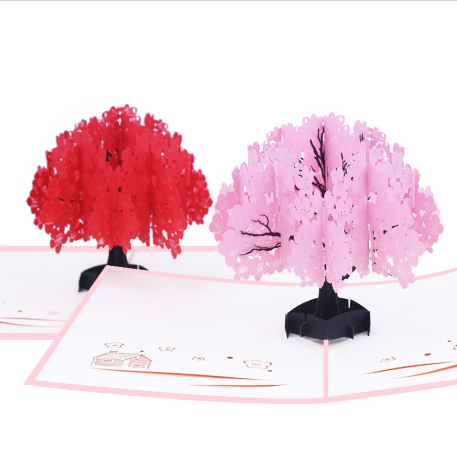 Meilun Art & Craft 3d card handmade romance sakura valentine 3d birthday pop up card