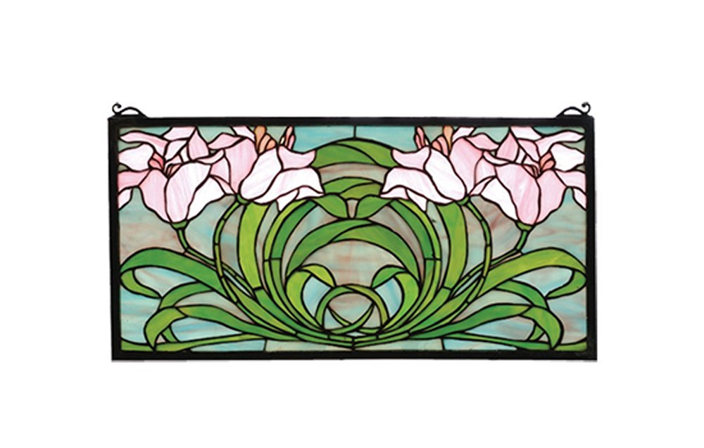 "Meyda Hand Crafted Designed Art Decorative Panel 22""W X 11""H Calla Lily Stained Glass Window"