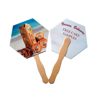 manual paper hand fan with wood handle /wood Sticks handle paper fan  /Wavy Paddle Fan Handle