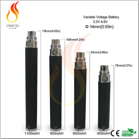 3.3V-4.8V Variable Voltage E-Cigarette ego twist 1300 mah