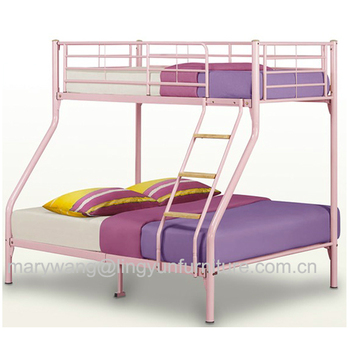 Iron Steel Tube Light Pink Color Metal Triple Bunk Bed Frame For