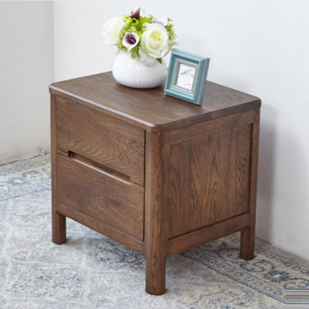 LIUJIANGLONG LJ&L Pure hand-tenon craft bedside cabinet, oak wood double drawer lockers, home office multi-purpose walnut color lockers,Oak wood,17.715.718.5inch