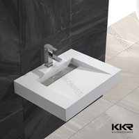 European modern square wall hung white acrylic stone solid surface bathroom sink