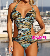 Free shipping Sexy Chain Print green One Piece MONOKINI SWIMSUIT SWIMWEAR 5564 size S M L XL shipping within 24hs