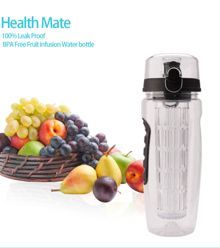 Low MOQ Private Label 32OZ Bpa Free TRITAN Fruit Infusion Water Bottle