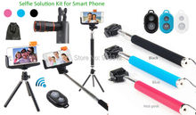 Hot Photo Selfie Kit:Tripod Stand+8X Zoom Lens+Bluetooth Camera Shutter+Stick Monopod For Samsung Galaxy Note 5/4 S6 Edge Plus