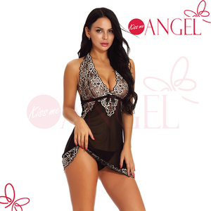 Charming ladies colorful girls wearing sheer mesh sexy transparent nude babydoll