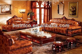 Thai Stil Wohnzimmer Sitzgruppe, Luxus Design, Leder Goldenen Möbel Set,  Edle