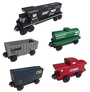 Norfolk Southern RAILWAY GP-38 Diesel 5pc. Set - Wooden Toy Train by Whittle Shortline Railroad - Manufacturer
