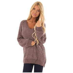 New Design Casual Women Long Sleeve Pullover V Neckline Knit Sweaters