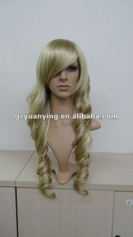 Charming Curly blonde lace wig depan