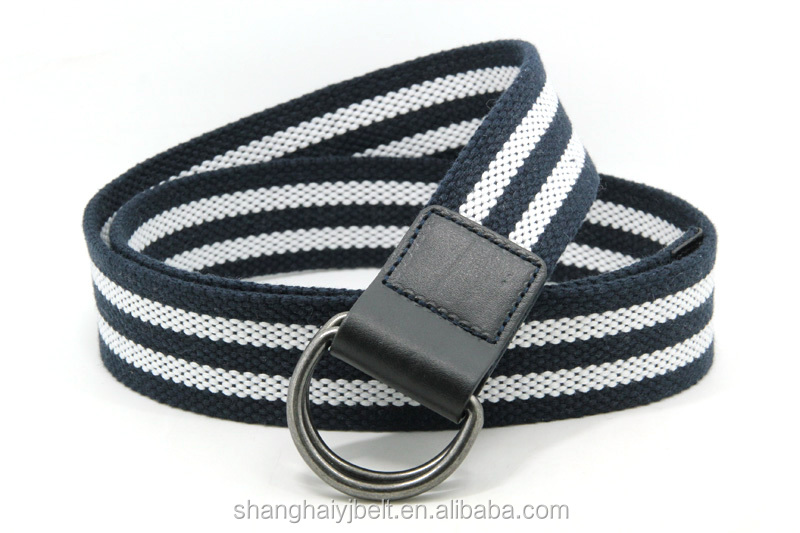 YJ-W1162 Black and white stripe ring canvas webbing mens belt
