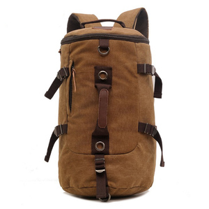 Wholesale Custom Hiking Camping Cylinder Canvas Rucksack Backpack, Vintage Eco Cotton Canvas Backpack Duffle Bag