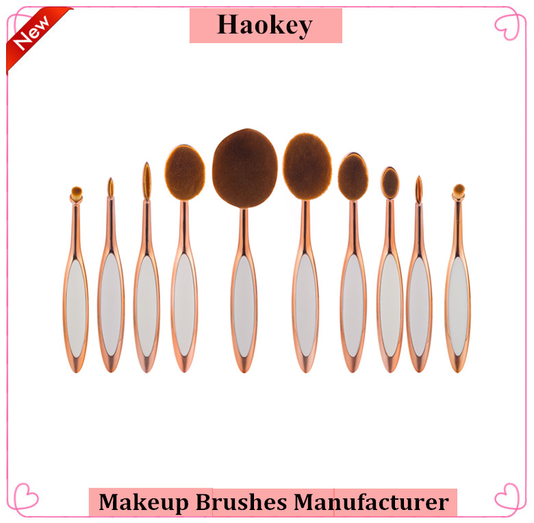 Modern Style Toothbrush shaped foundation brush 10 pcs rose gold oval makeup brush set