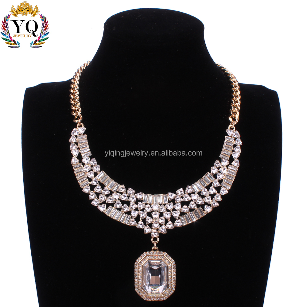 NYQ-00668 dubai gold plated necklace& luxurious Square jewelry bridal crystal necklace