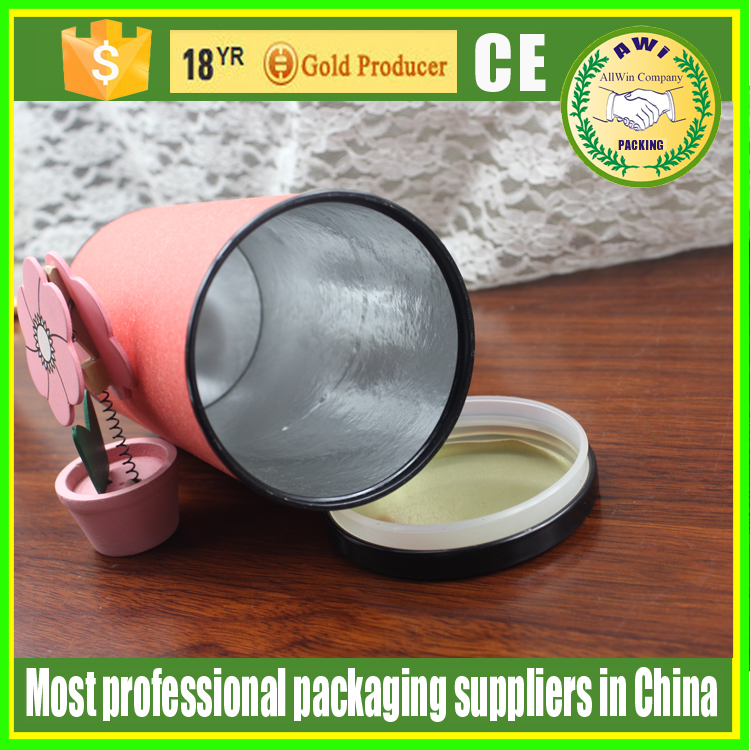 round paper box tube for wine glass bottle packing with a butt joined cap food grade paper tube with aluminium-foil paper