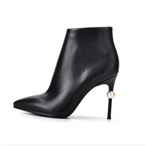 Hot Selling sexy black leather dress high heels boots ladies