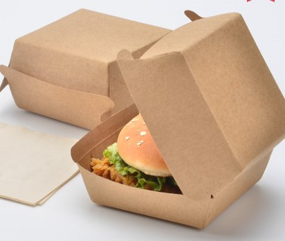 OEM custom factory made kraft paper lunch disposable take-out food hamburger pack box