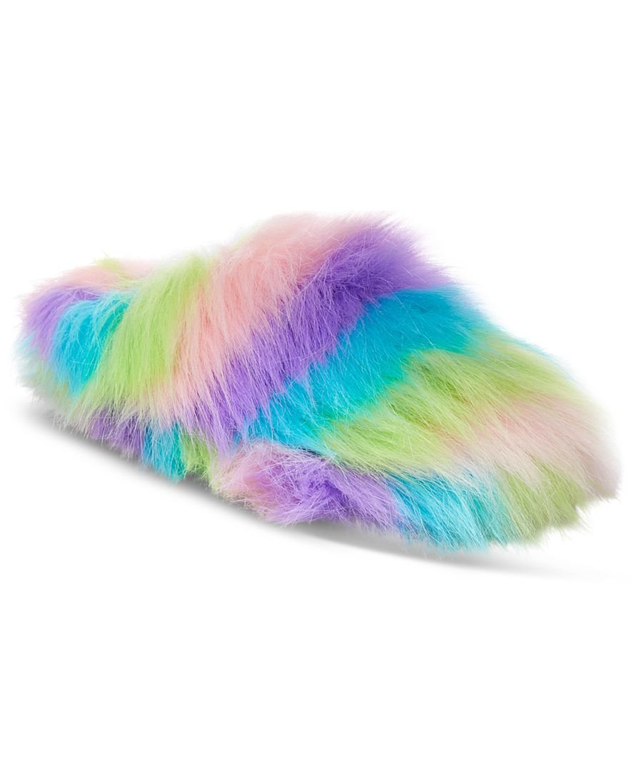 de67aac16 Get Quotations · Betsey Johnson XOX DreamWorks Trolls Rainbow Splash Fuzzy  Slippers - Size US Medium 7/8