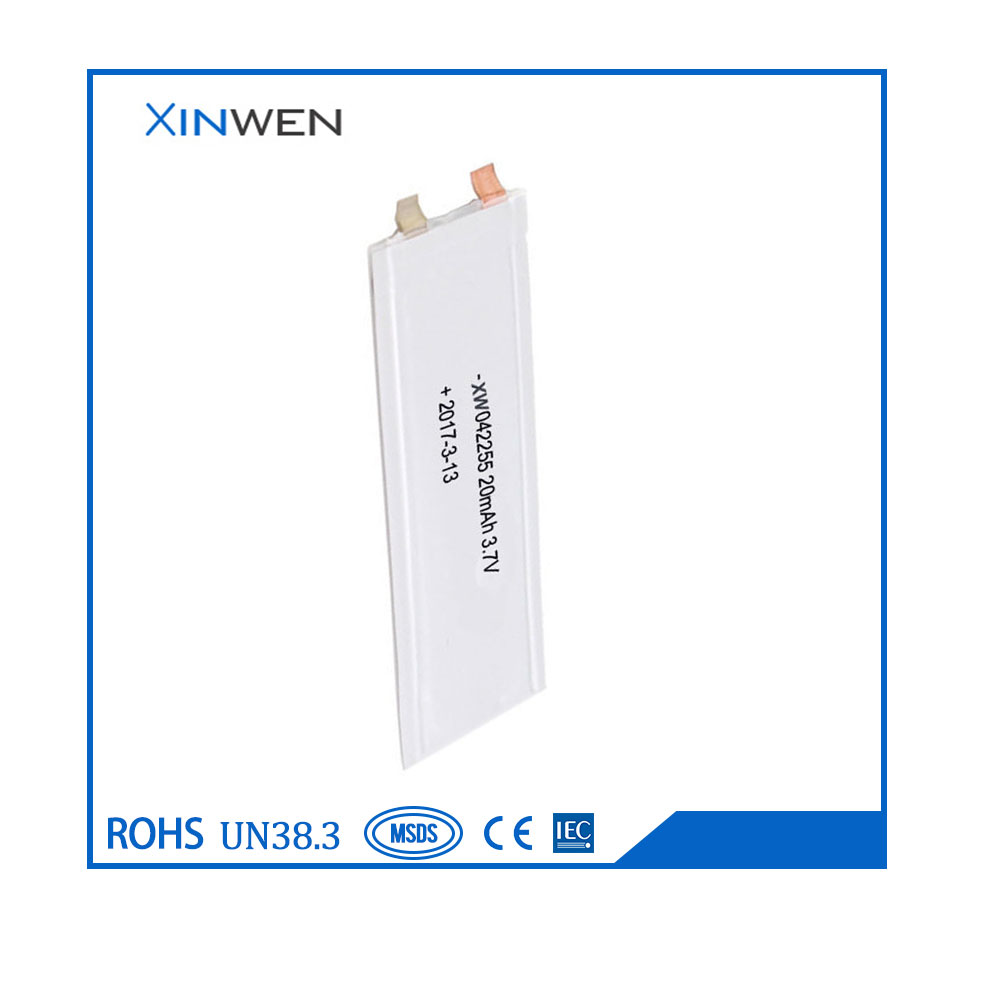 XW 042255 20mAh 3.7v ultra thin lipo battery for wearable devices