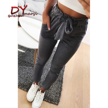 2018 spring women suede pants new style pencil pants high waist trousers