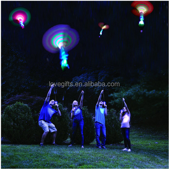 Light Up Flying Toys Led Slingshot Arrow Helicopter Rocket Copter