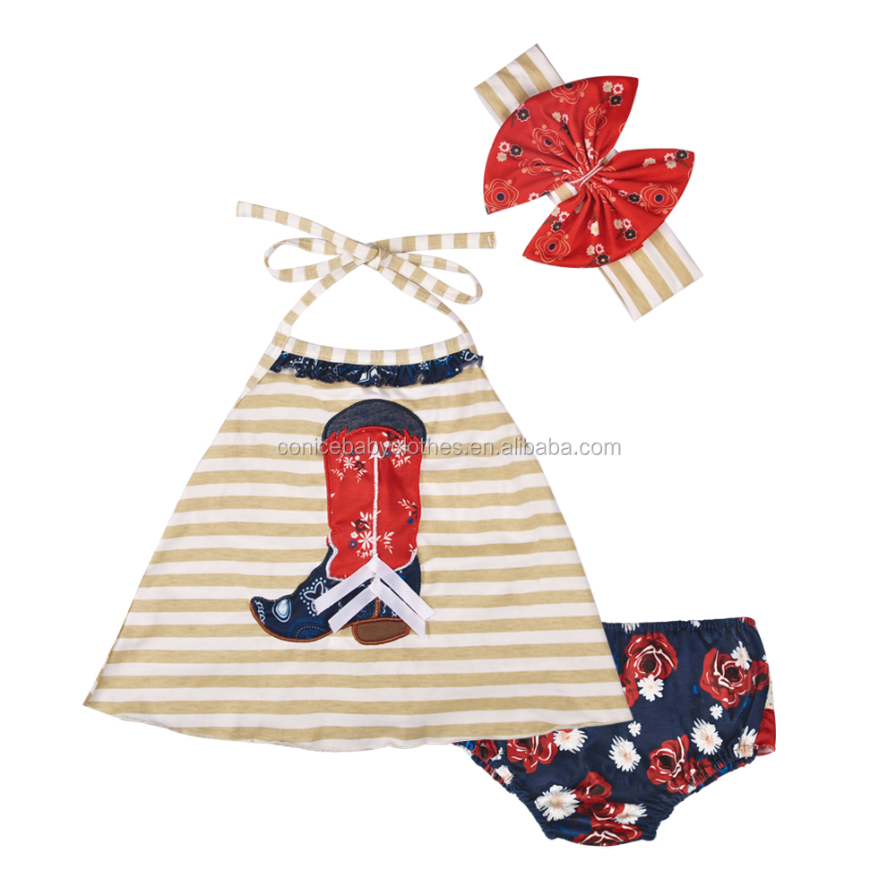 Santa clause applique red stripe christmas ruffle baby girls romper